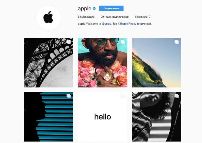 Apple зарегистрировалась в Instagram