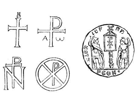 Left - Early crosses and monograms of Christ