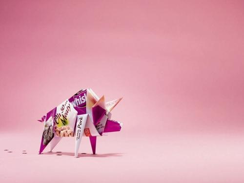 Мясные оригами в рекламе кошачьего корма Whiskas от агентства TBWA London