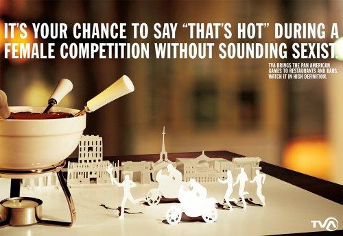 Реклама международных соревнований на Американском континенте по большинству видов спорта, входящих в программу Олимпийских игр на канале TVA