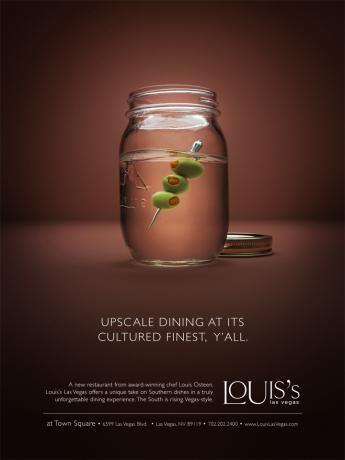 Реклама ресторана от повара Louis Osteen, Louis's Las Vegas