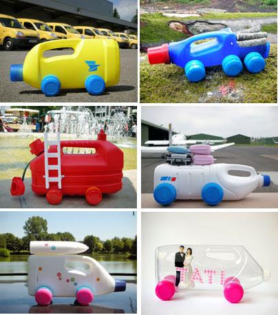 Машинки, сделанные из пластиковых бутылок от Martine Camillieri