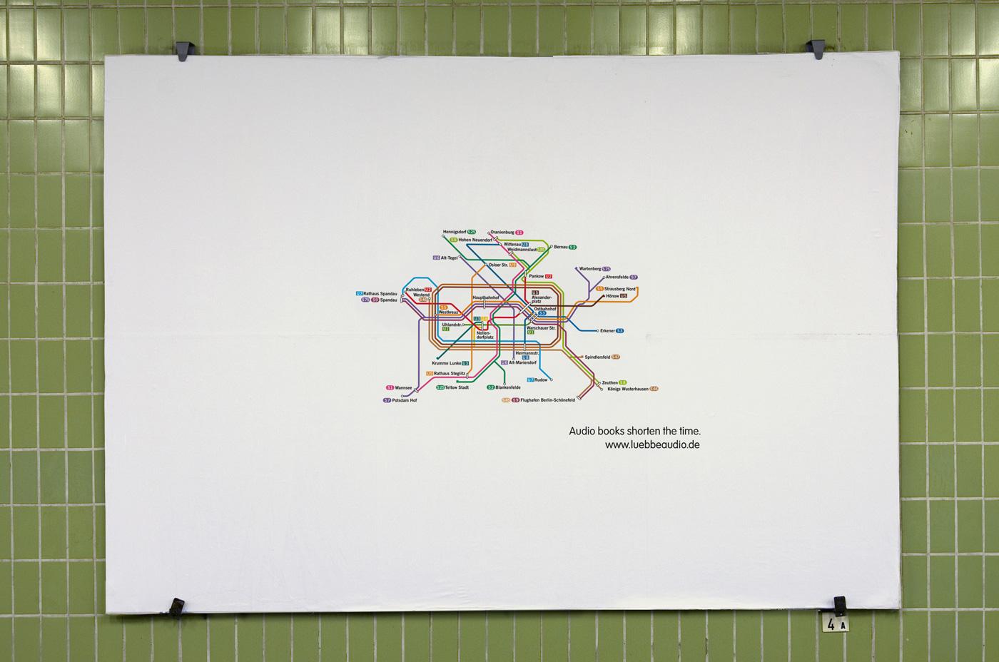 Агентство Serviceplan Munich / Hamburg (Германия) рекламирует аудио-книги, показывая уменьшенные схемы метро.