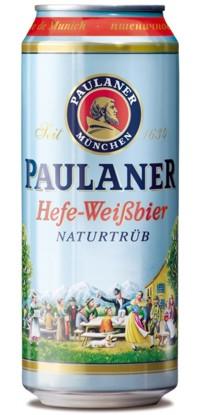 """Баночное пиво, Paulaner Hefe-Weissbier, пивоваренный завод, торговая марка """"Пауланер"""", стиль, небесно-голубой, цвет"""