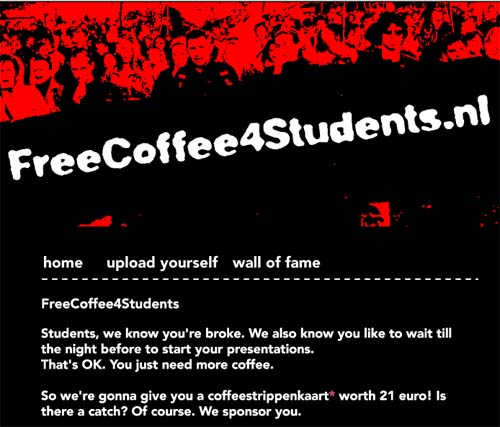 Сайт www.freecoffee4students.nl, скриншот