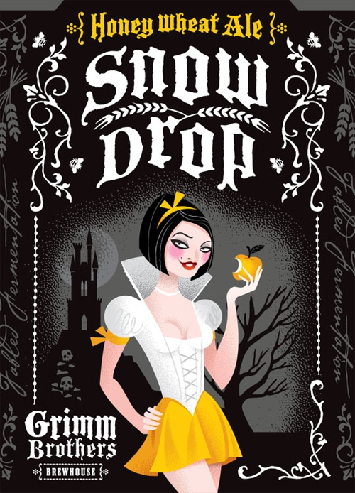 Этикетка пива Grimm Brothers Brewhouse - Snow Drop