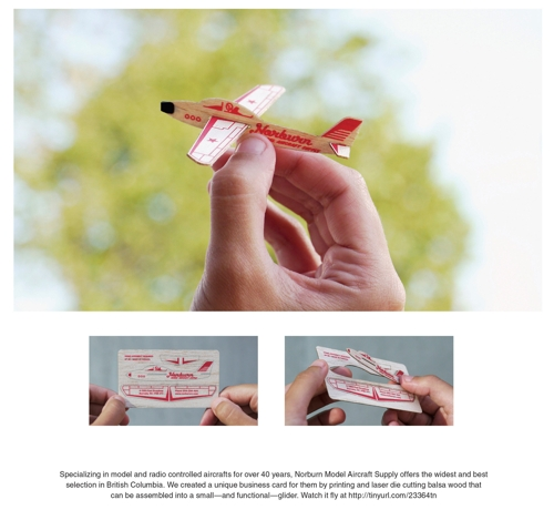 визитка-самолетик для  Norburn Model Aircraft Supply