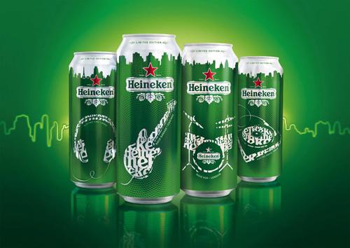Музыкальный дизайн пива Heineken