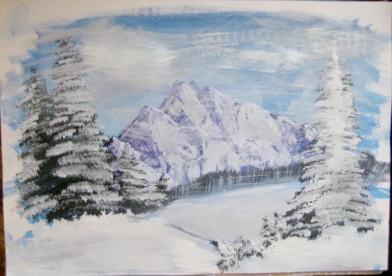 Зимний пейзаж гуашью